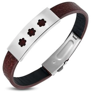 Brown PVC Leather Bracelet w/ Stainless Steel